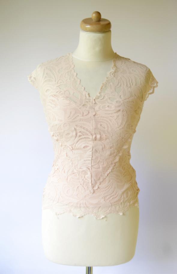 Bluzka Pudrowy Róż H&M S 36 Koronka Koronkowa Top