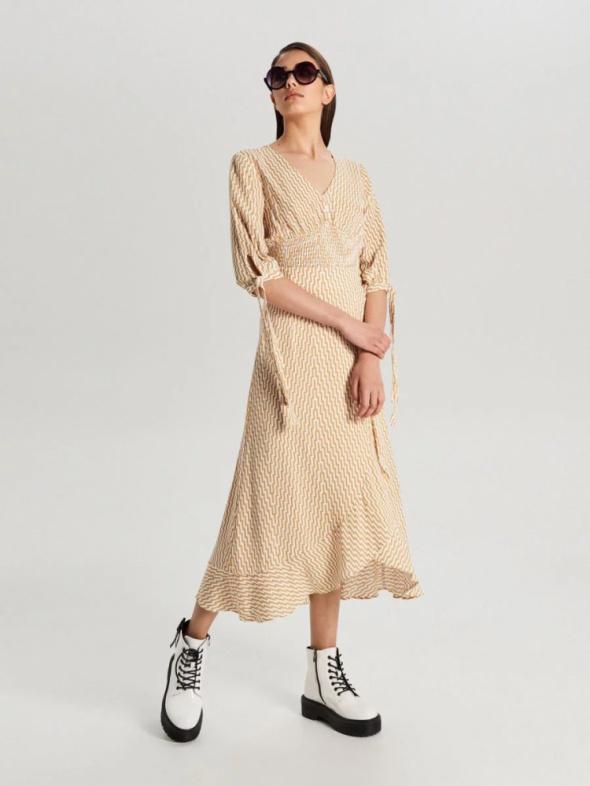 Nowa spódnica maxi Cropp L 40 długa zakładana kpertowa wiązana wrap dress wiskoza falbana