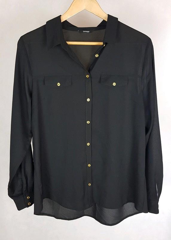 Piękna czarna koszula złote guziki George 44 uni...