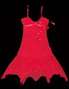 niespotykana czerwona sukienka komunia ślub...