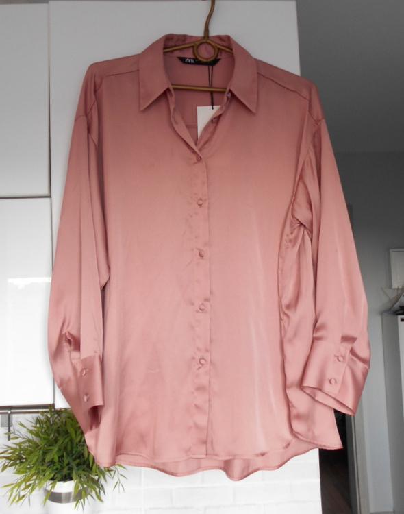 Zara nowa satynowa pudrowa koszula pudrowy róż