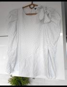Zara bluzka w prążki biała kokarda bufki...