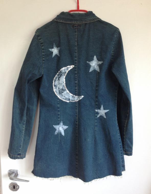 Płaszcz jeansowy handmade diy gwiazdki księżyc cekiny ręcznie malowany XS S m 34 36 38