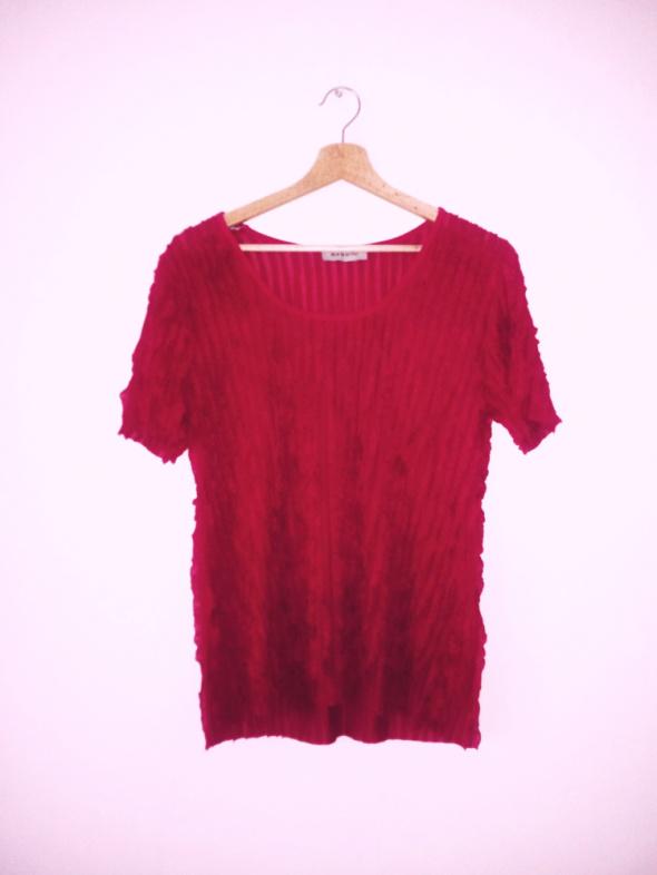 Bordowa bluzka pionowe falbany elegancka krótki rękaw