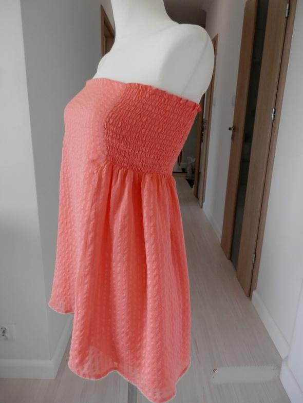 Tunika Sukienka Czysty Jedwab Koralowa w Kropki M