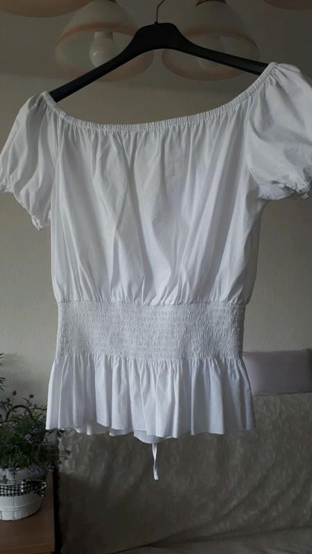 Biała bluzka z wiązaniem z tyłu hiszpanka