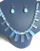 Elegancka biżuteria z opalami kolia kolczyki srebro...