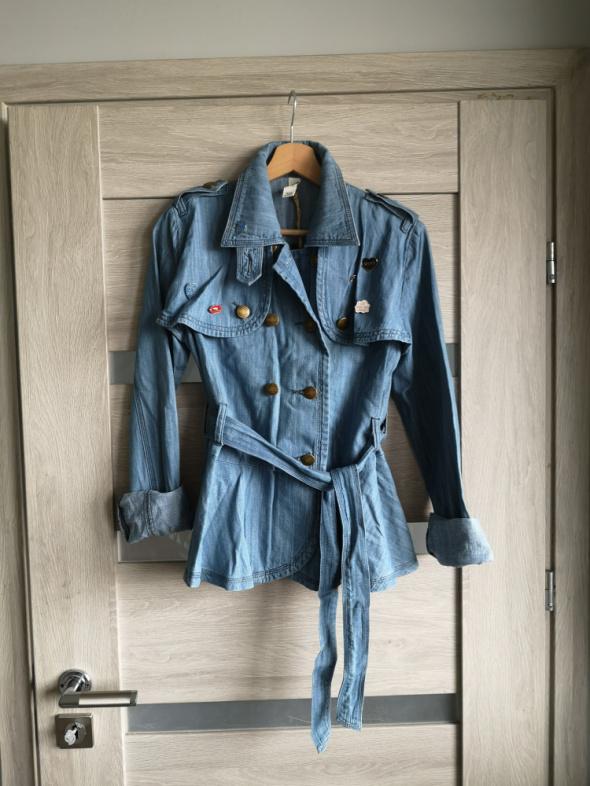 Kurtka katana jeans Gina Tricot S M nowa piny przypinki pilotka...