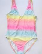 Strój Kostium Kąpielowy NOWY Ombre BooHoo M 38 Kolorowy Tęcza g...