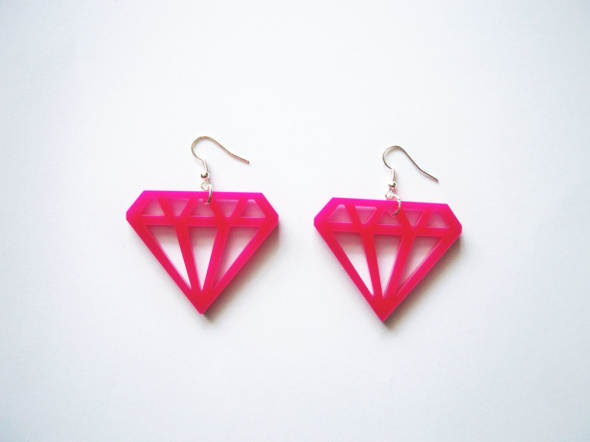 NOWE kolczyki diamenty różowe Glovestar emo pastel goth