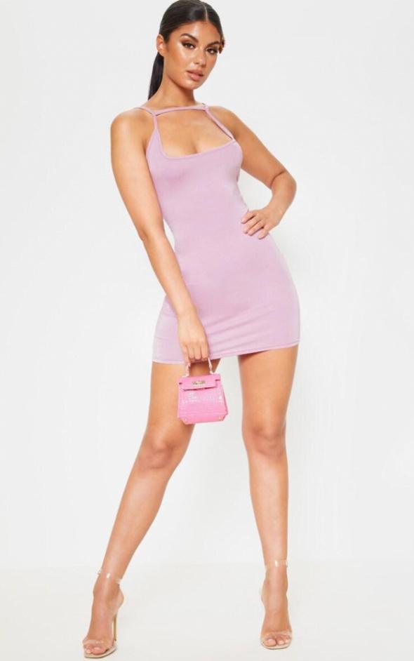Sukienka dopasowana liliowa rozmiar S...