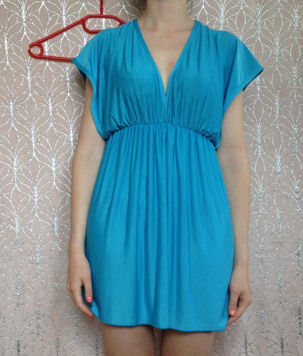 Turkusowa sukienka odcinana pod biustem rozkloszowana mini XS S M 34 36 38 elastyczna tania
