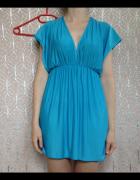 Turkusowa sukienka odcinana pod biustem rozkloszowana mini XS S...