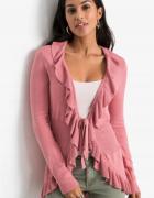 Sweter narzutka wiązana z falbanami rozmiar S...