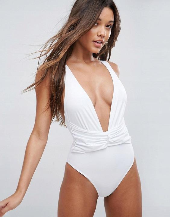 Stroje kąpielowe Biały strój kąpielowy ASOS rozmiar S