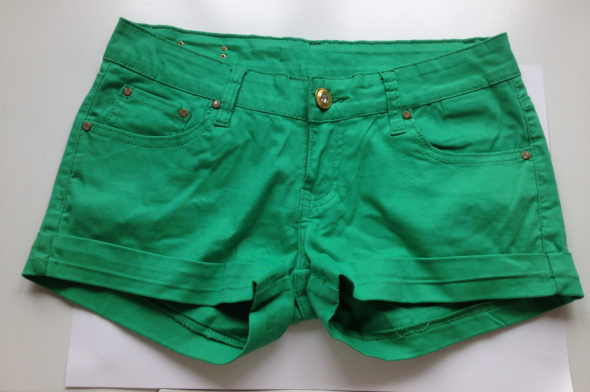Szorty zielone S M 36 38 jeansowe jak nowe