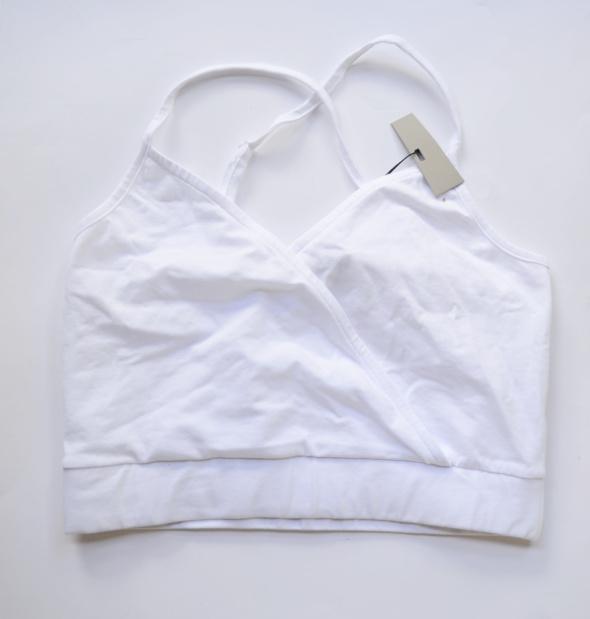Top Biały Biel Bluzka Asos L 40 Kopertowy Krótki NOWY