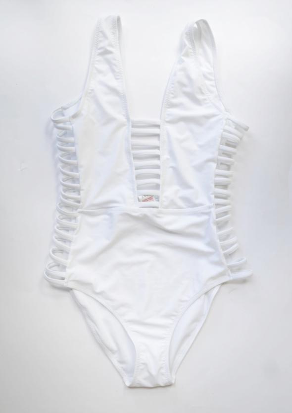 Strój Kostium Kąpielowy NOWY Biały Missguided M 38 Sznurki