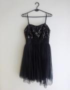 Reserved czarna sukienka z cekinami sylwester S M...
