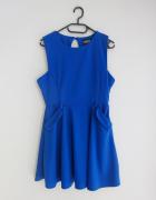 chabrowa kobaltowa niebieska rozkloszowana sukienka 38 M