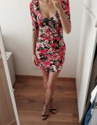Sukienka kwiatowa kolorowa bandażowa mini lato 36...