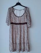 Idealna brązowa sukienka w kwiatki L...