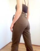 Spodnie khaki z wysokim stanem Bershka 36 S militarne high wais...