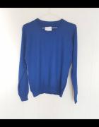 Nowy niebieski sweter L 40 wełniany wełna kaszmir...