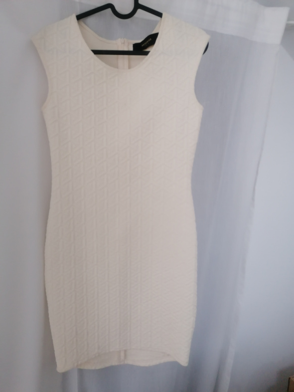 Suknie i sukienki Sukienka ecru z motywem
