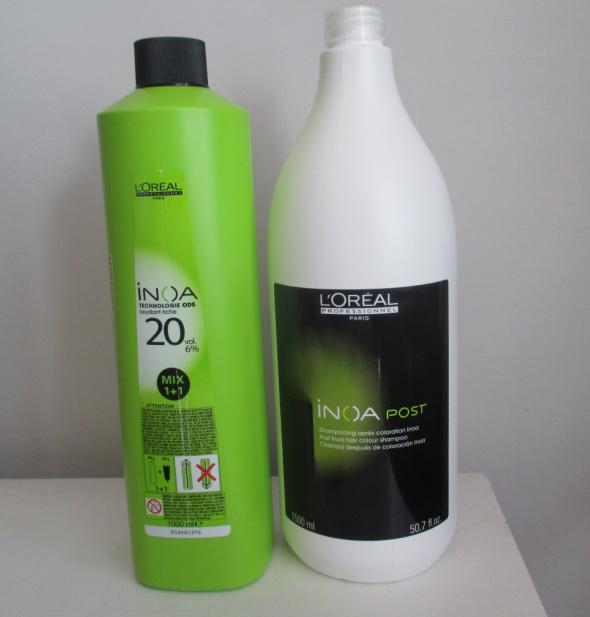 loreal aktywator oxydant do farb 6 procent 500ml oraz Inoa szampon