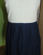Rewelacyjna koronkowa sukienka kremowo granatowa Vero Moda L