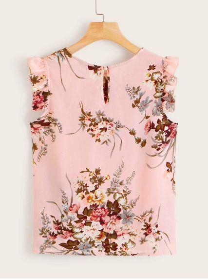 Nowa nieużywana bluzka floral bez rękawków różowa S 36