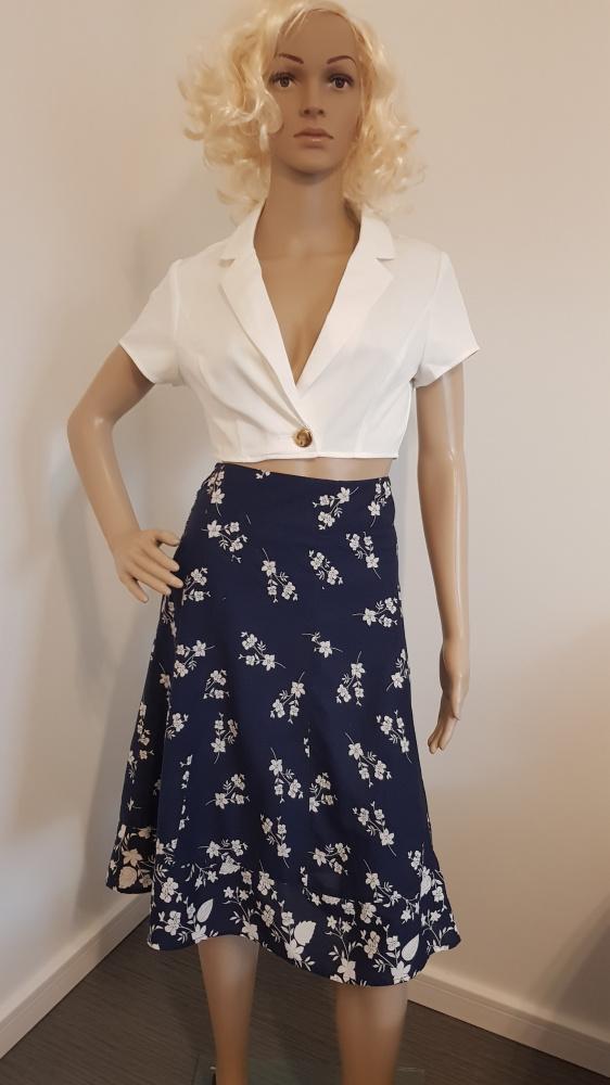 Spódnice Granatowa spódniczka w białe kwiatki