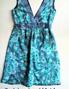 Letnia sukienka w pawie pióra xxs xs...