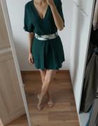 Mango sukienka 100 wiskoza uniwersalna butelkowa zieleń mini 36...