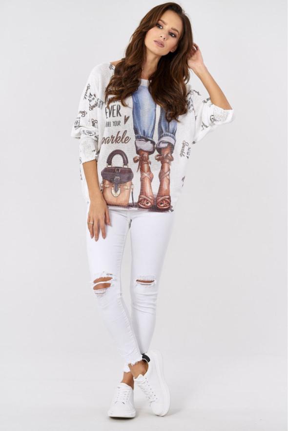 Sweter dzianinowy jeansy