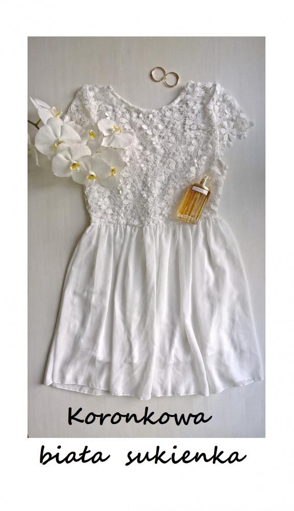 Biała koronkowa sukienka gipiura wesele komunia chrzest
