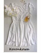 Biała koronkowa sukienka gipiura wesele komunia chrzest...