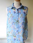 Koszula Niebieska S 36 H&M Kwiaty Bluzka Kwiatki Elegancka...