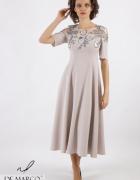 Ekskluzywna sukienka wieczorowa z szarą koronką De Marco...