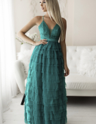 Efektowna sukienka długa falbanki kolory S M L...
