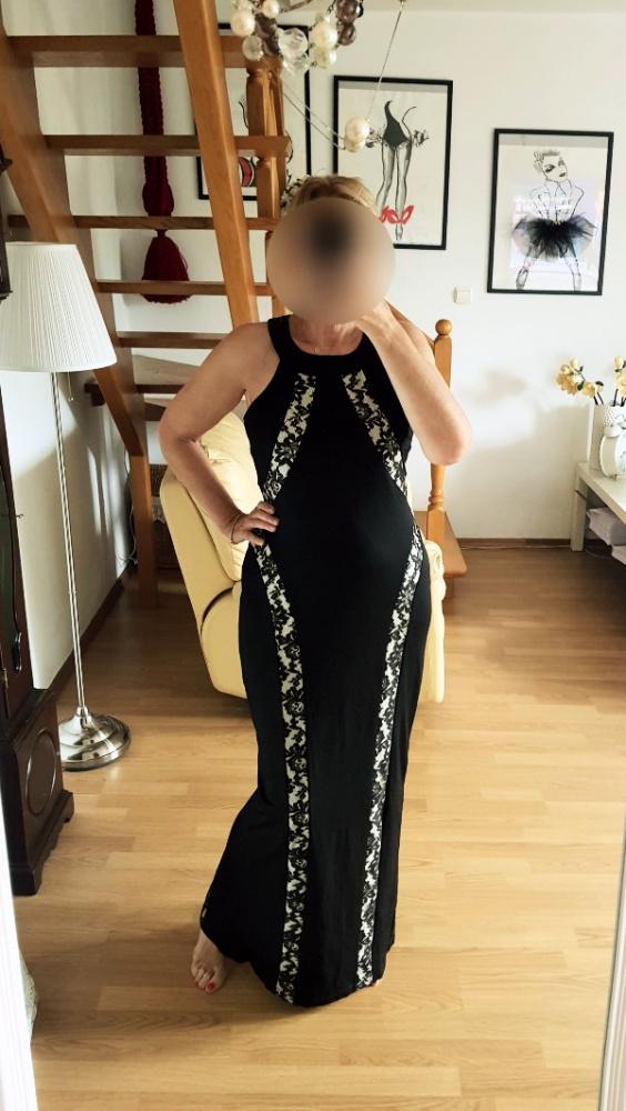 Bodyflirt czarna długa sukienka wstawki z koronki 42