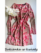 Sukienka z długim rękawem w kwiaty S XS...