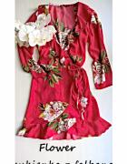 Kopertowa sukienka w kwiaty z wiązaniem i falbanką M L...