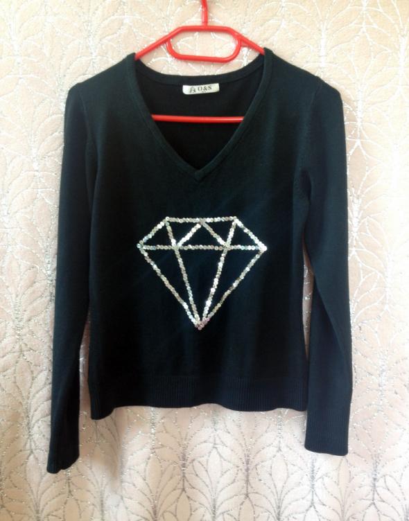 Sweter z diamentem diament cekiny cekinami DIY handmade XS S M L 34 36 38 elastyczny czarny czerń