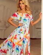 Długa suknia hiszpański dekolt kolorowe malowane kwiaty 44 XXL...