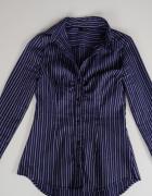 niebieska koszula Tally Weijl pasy xxs 32 xs 34 taliowana talia...