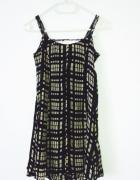 Letnia czarna sukienka w beżowe kwadraty vintage...