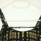 Letnia czarna sukienka w beżowe kwadraty vintage