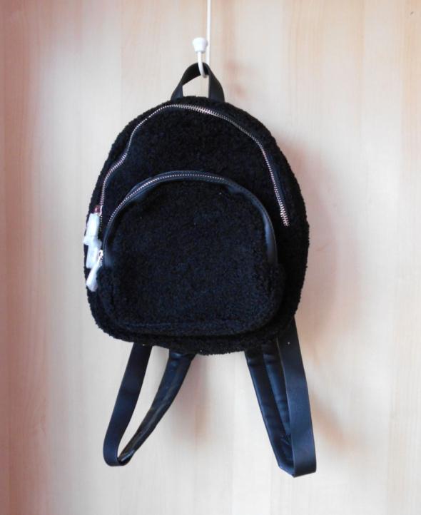 Zara nowy czarny futrzany plecak